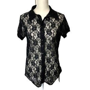 Modus Vivendi Black Floral Lace Top
